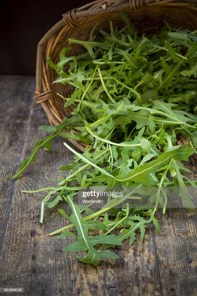 Basket of rocket salad on wooden table