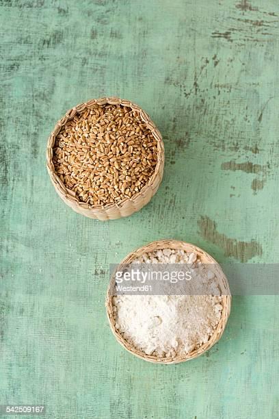 Basket of spelt grains, Triticum spelta, and cover of spelt flour