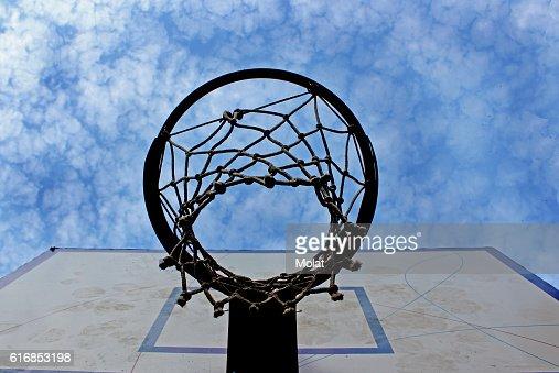 Basket on the playground : Stock Photo