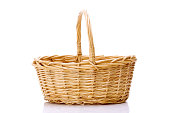 close-up of wooden basket isolated on white background