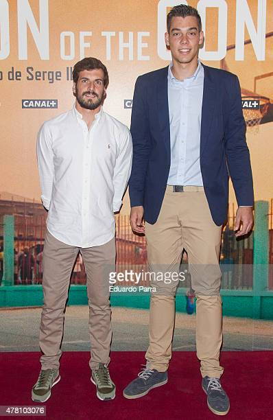 Basket player Willy Hernangomez and basket player Tomas Bellas attend 'Son of the Congo El hechizo de Serge Ibaka' documentary presentation at Callao...