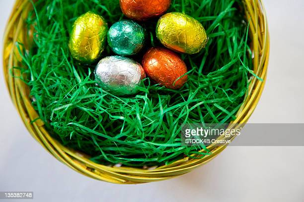 Basket with chocolate Easter eggs