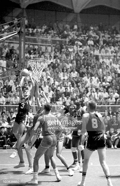 1960 Summer Olympics USA Jerry West in action shot vs Soviet Union during Semifinal Pool B at Palazzo dello Sport Rome Italy 7/15/1960 CREDIT John G...