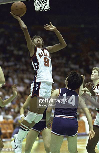1984 Summer Olympics USA Cheryl Miller in action layup vs South Korea JungA Sung during Women's Final at The Forum Inglewood CA 8/7/1984 CREDIT Manny...