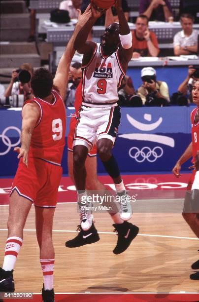 1992 Summer Olympics USA Michael Jordan in action during Men's Gold Medal game vs Croatia at Pavello Olimpic Dream Team Badalona Spain 8/8/1992...