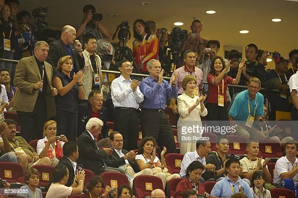2008 Summer Olympics Foreign Minister of the People's Republic of China Yang Jiechi United States President George W Bush and First Lady Laura Bush...