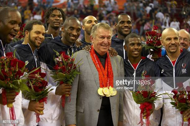 2008 Summer Olympics USA Deron Williams Chris Bosh Kobe Bryant Carlos Boozer Jerry Colangelo Lebron James Chris Paul and Jason Kidd victorious with...