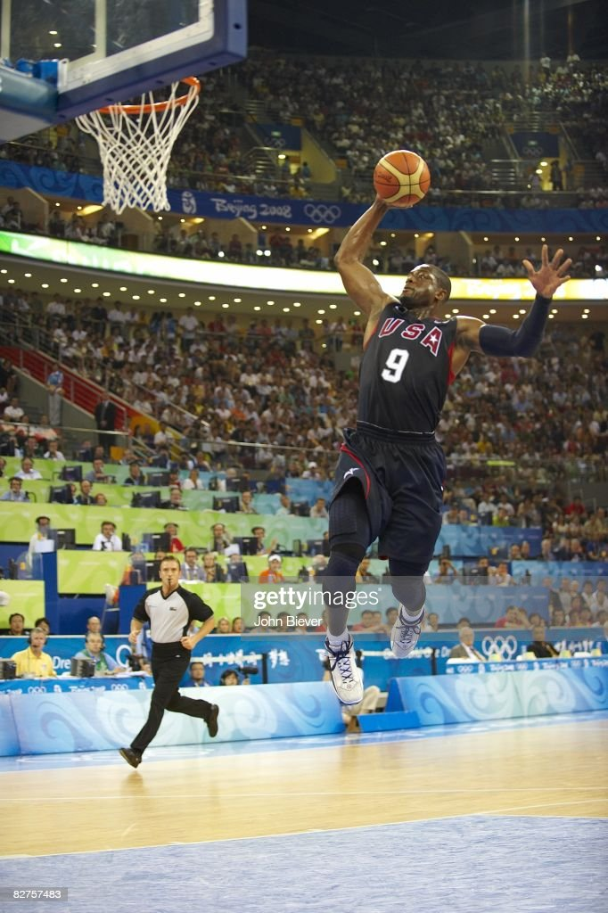 USA Dwyane Wade (9) in action, dunk vs Spain during Men's Final at Olympic Basketball Gymnasium in Wukesong Culture and Sports Center. Beijing, China 8/24/2008