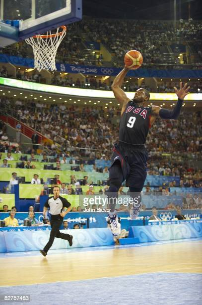2008 Summer Olympics USA Dwyane Wade in action dunk vs Spain during Men's Final at Olympic Basketball Gymnasium in Wukesong Culture and Sports Center...