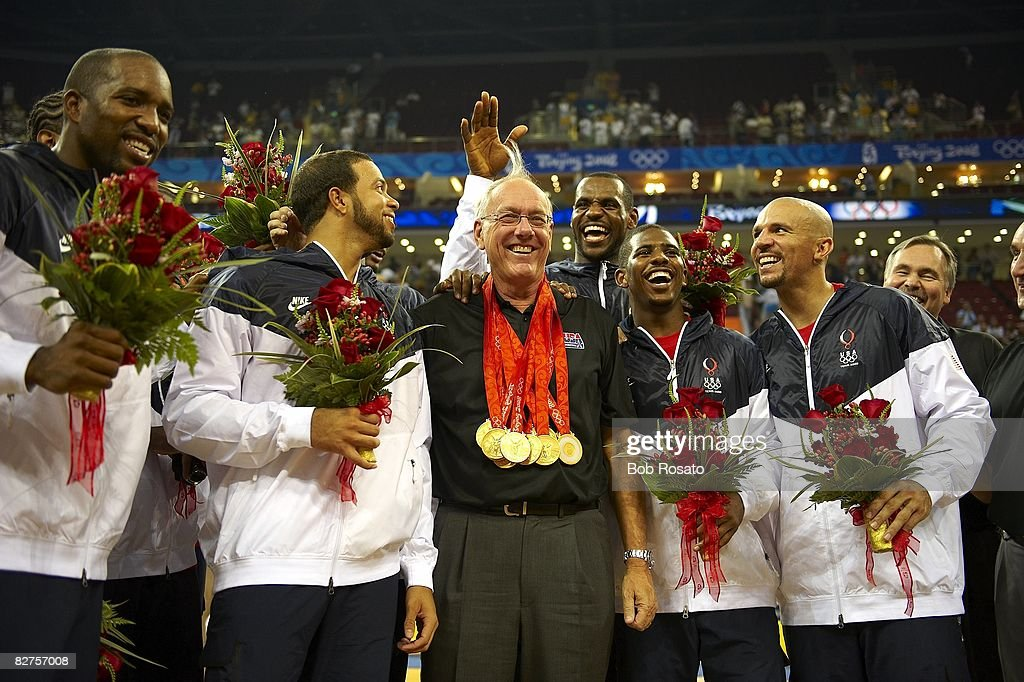 USA team and assistant coach Jim Boeheim victorious after game vs Spain during Men's Final at Olympic Basketball Gymnasium in Wukesong Culture and Sports Center. Beijing, China 8/24/2008