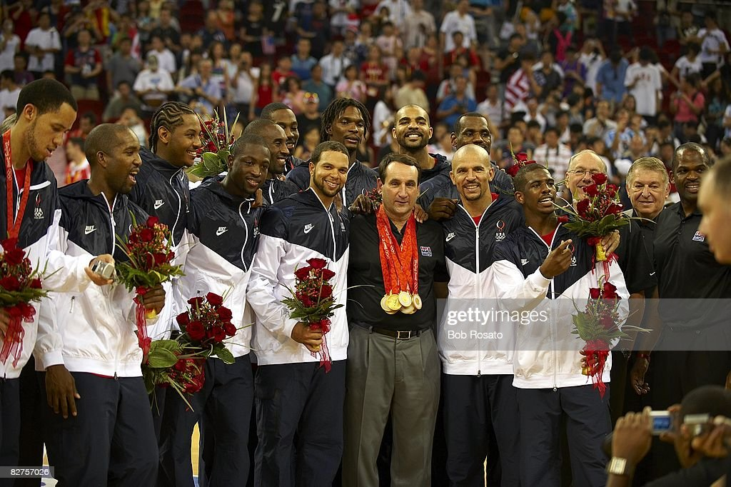 USA team and head coach Mike Krzyzewski victorious with gold medals after game vs Spain during Men's Final at Olympic Basketball Gymnasium in Wukesong Culture and Sports Center. Beijing, China 8/24/2008