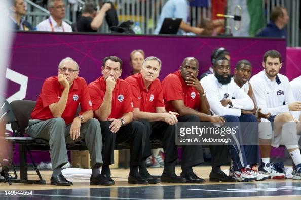 2012 Summer Olympics USA assistant coach Jim Boeheim head coach Mike Krzyzewski assistant coaches Mike D'Antoni and Nate McMillan James Harden Chris...