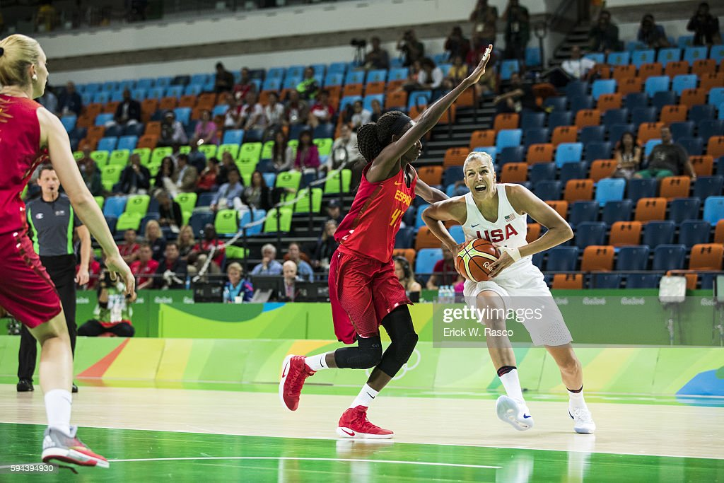 2016 Summer Olympics USA Elena Delle Donne in action vs Spain Astou Ndour during Women's Final Gold Medal game at Carioca Arena 1 Rio de Janeiro...