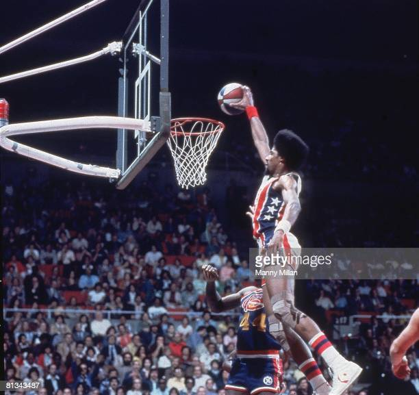 Basketball ABA Championship New York Nets Dr J Julius Erving in action making dunk vs Denver Nuggets Uniondale NY 5/6/1976