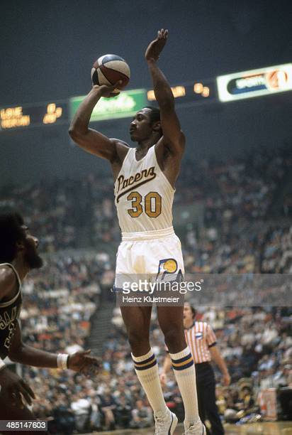 ABA Playoffs Indiana Pacers George McGinnis in action shot vs San Antonio Spurs at Market Square Arena Game 6 Indianapolis IN CREDIT Heinz Kluetmeier