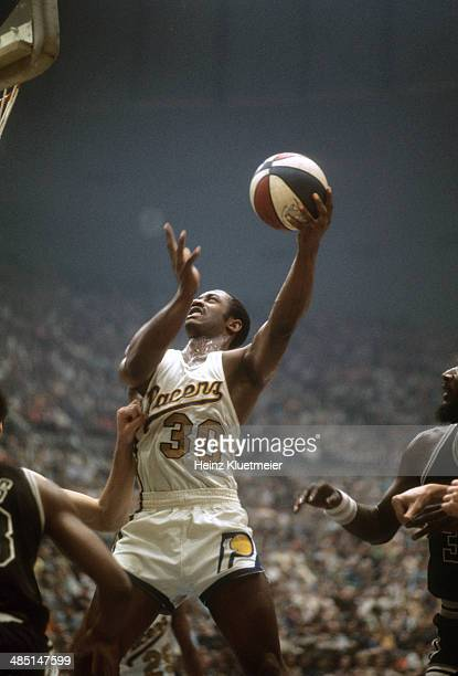 ABA Playoffs Indiana Pacers George McGinnis in action vs San Antonio Spurs at Market Square Arena Game 6 Indianapolis IN CREDIT Heinz Kluetmeier