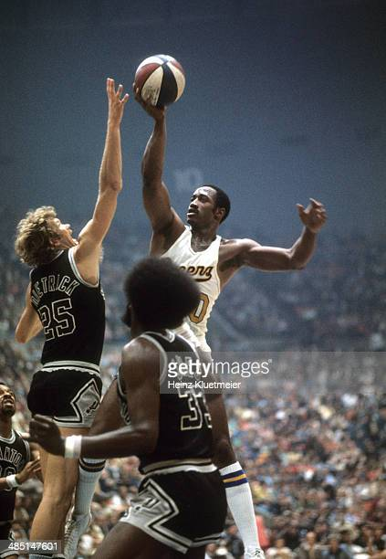 ABA Playoffs Indiana Pacers George McGinnis in action vs San Antonio Spurs Coby Dietrick at Market Square Arena Game 6 Indianapolis IN CREDIT Heinz...