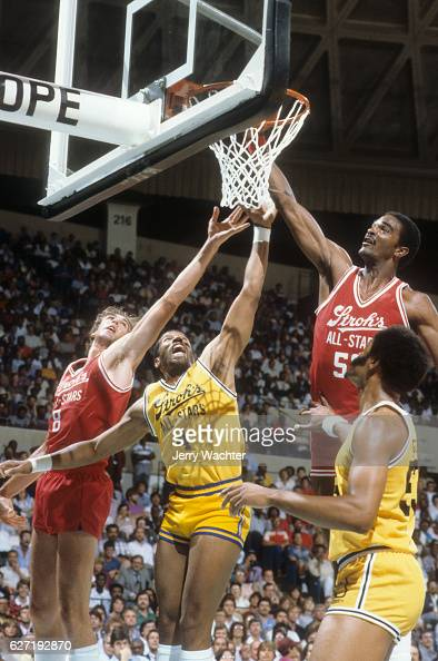 ACC All Stars Ralph Sampson in action vs NBA All Star Adrian Dantley during exhibition game at Norfolk Scope Norfolk VA CREDIT Jerry Wachter