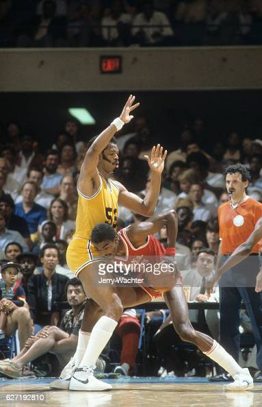 ACC All Stars Ralph Sampson in action vs NBA All Stars Artis Gilmore during exhibition game at Norfolk Scope Norfolk VA CREDIT Jerry Wachter