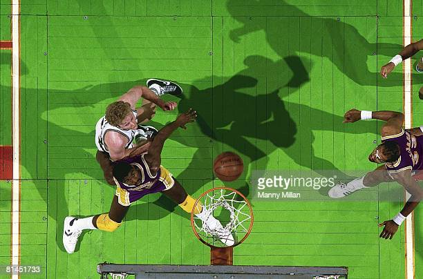 Basketball Aerial view of Boston Celtics Larry Bird in action vs Los Angeles Lakers Magic Johnson Boston MA 5/27/1985
