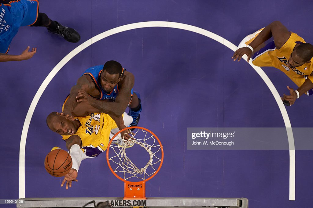 Aerial view of Los Angeles Lakers Kobe Bryant (24) in action vs Oklahoma City Thunder at Staples Center. John W. McDonough F131 )