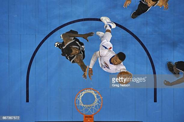 Aerial view of Oklahoma City Thunder Russell Westbrook in action dunk vs San Antonio Spurs at Chesapeake Energy Arena Oklahoma City OK CREDIT Greg...