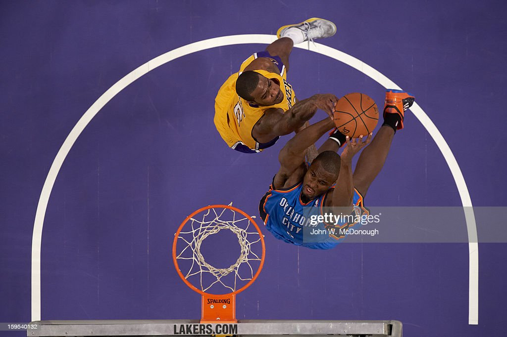 Aerial view of Oklahoma City Thunder Serge Ibaka (9) in action vs Los Angeles Lakers at Staples Center. John W. McDonough F161 )