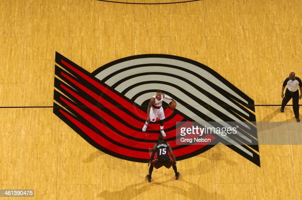 Aerial view of Portland Trail Blazers Damian Lillard in action vs Miami Heat Mario Chalmers at Rose Garden Portland OR CREDIT Greg Nelson