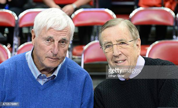 Basketball analyst Bobby Knight and sportscaster Brent Musburger appear before a game between the New Mexico Lobos and the UNLV Rebels at the Thomas...