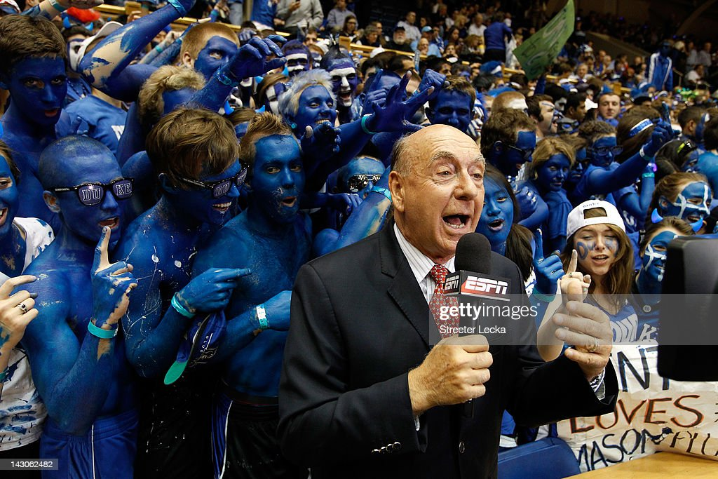 ESPN basketball analyst <a gi-track='captionPersonalityLinkClicked' href=/galleries/search?phrase=Dick+Vitale&family=editorial&specificpeople=730924 ng-click='$event.stopPropagation()'>Dick Vitale</a> reports from the sidelines before the Duke Blue Devils against the North Carolina Tar Heels at Cameron Indoor Stadium on March 3, 2012 in Durham, North Carolina.