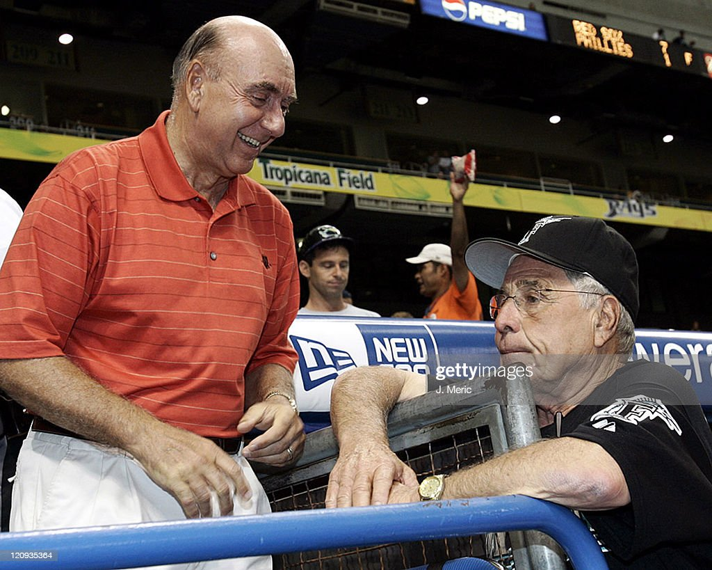 ESPN basketball analyst <a gi-track='captionPersonalityLinkClicked' href=/galleries/search?phrase=Dick+Vitale&family=editorial&specificpeople=730924 ng-click='$event.stopPropagation()'>Dick Vitale</a> shares a thought with Florida Marlins manager <a gi-track='captionPersonalityLinkClicked' href=/galleries/search?phrase=Jack+McKeon&family=editorial&specificpeople=206852 ng-click='$event.stopPropagation()'>Jack McKeon</a> prior to Saturday night's game against the Tampa Bay Devil Rays at Tropicana Field in St. Petersburg, Florida on June 25, 2005.