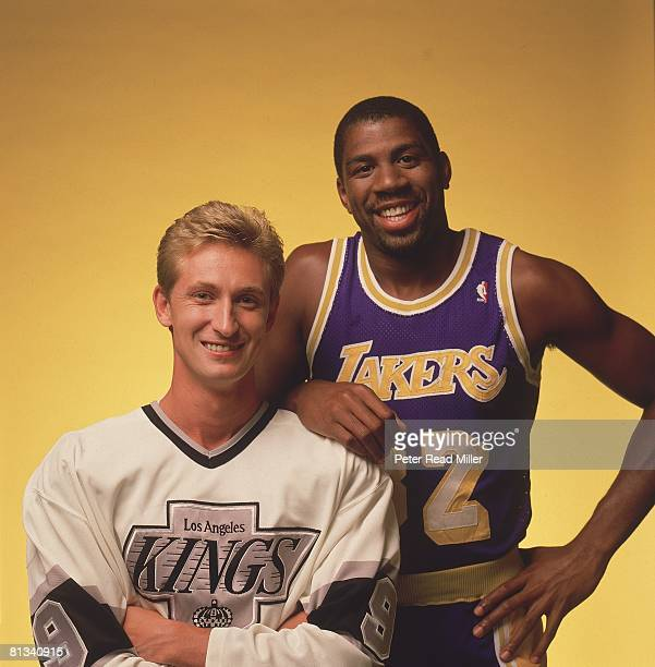 Basketball and Hockey Closeup portrait of Los Angeles Kings Wayne Gretzky and Los Angeles Lakers Earvin Magic Johnson Los Angeles CA 8/11/1988