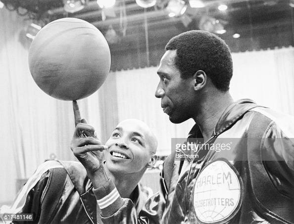 Basketball Anyone Fred 'Curly' Neal admires Meadowlark Lemon's adroit ballhandling in the CBS Sports special Harlem Globetrotters The Road to Mexico...
