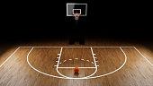 Basketball Arena with basketball ball.