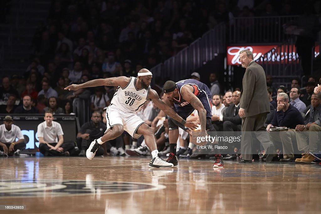 Atlanta Hawks Josh Smith (5) in action vs Brooklyn Nets Reggie Evans (30) at Barclays Center. Erick W. Rasco F408 )