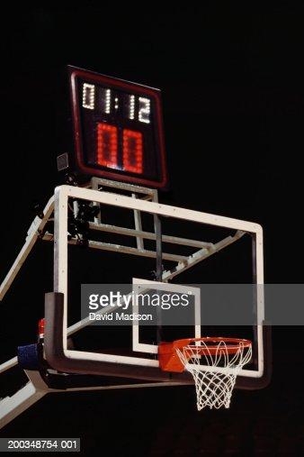 Basketball basket, backboard and shot timing clock