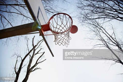 Basketball, basket ball, hoop in the sun