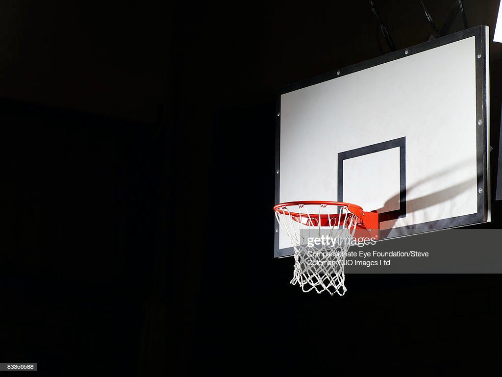 Basketball board against a black background