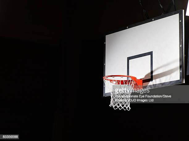 Basketball board against a black background