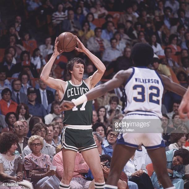 Basketball Boston Celtics John Havlicek in action vs Denver Nuggets Bobby Wilkerson Denver CO 3/31/1978