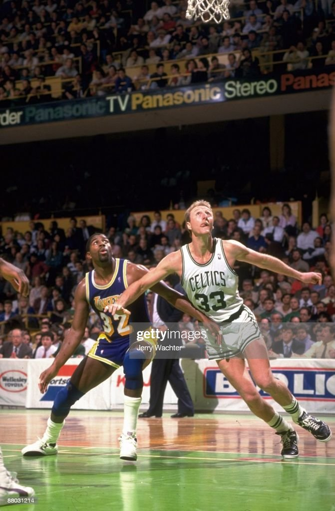 Boston Celtics Larry Bird (33) in action vs Los Angeles Lakers Magic Johnson (32). Boston, MA