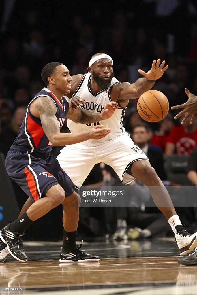 Brooklyn Nets Reggie Evans (30) in action vs Atlanta Hawks Jeff Teague (0) at Barclays Center. Erick W. Rasco F153 )