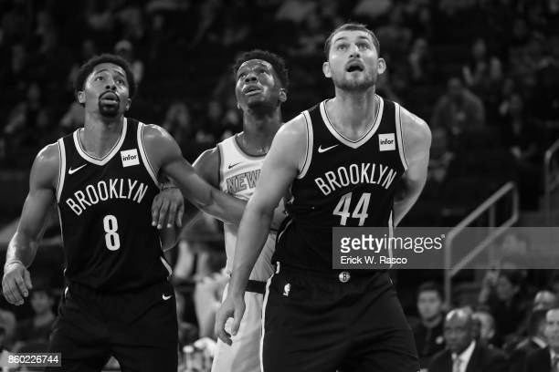Brooklyn Nets Spencer Dinwiddie and Tyler Zeller in action vs New York Knicks at Madison Square Garden New York NY CREDIT Erick W Rasco