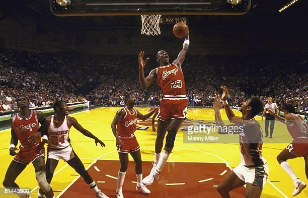 Basketball Chicago Bulls Michael Jordan in action getting rebound vs Milwaukee Bucks Milwaukee WI