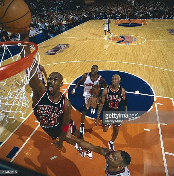 Basketball Chicago Bulls Michael Jordan in action making dunk vs New York Knicks New York NY 3/8/1998