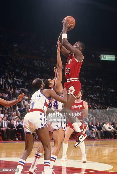 Chicago Bulls Michael Jordan in action shot vs Washington Bullets at Capital Centre Jordan wearing red Nike Air Jordan 1 sneakers Landover MD CREDIT...
