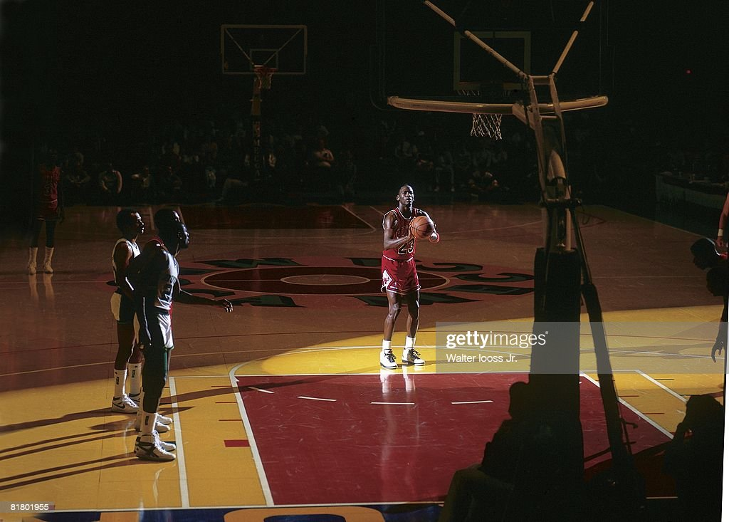 Basketball Chicago Bulls Michael Jordan in action taking foul shot vs Milwaukee Bucks Milwaukee WI 4/13/1987