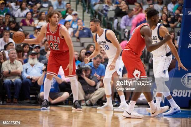 Chicago Bulls Robin Lopez in action vs Dallas Mavericks Salah Mejri during preseason game at American Airlines Center Dallas TX CREDIT Greg Nelson