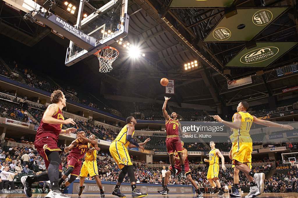 Cleveland Cavaliers Kyrie Irving (2) in action, shot vs Indiana Pacers Roy Hibbert (55) at Bankers Life Fieldhouse. David E. Klutho F91 )