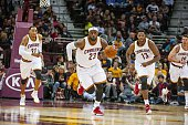 Cleveland Cavaliers LeBron James in action defense vs Maccabi Electra Tel Aviv during preseason exhibition game at Quicken Loans Arena Cleveland OH...